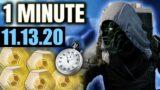 Xur in 1 MINUTE – (11.13.20) 1ST BEYOND LIGHT XUR! [Destiny 2]